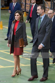 King Felipe of Spain and Queen Letizia of Spain visit the 'Joma Sport' factory on January 19, 2018 in Portillo de Toledo, Spain.