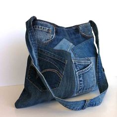 Shoulder purse recycled denim bag upcycled jean от Sisoibags