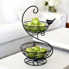 2-Tier Basket W/Bird Detail