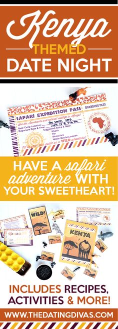 Fun printables for an African themed date night including: invitation, recipe cards, activities, and MORE! This site has 11 other countries to choose from too so you can choose a different country each month and travel the world together one date night at a time. I LOVE this! They have a fun way to give a Year of Around the World Dates as a romantic gift too! From www.TheDatingDivas.com