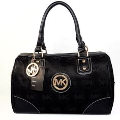 Michael Kors Logo Monogram Large Black Satchels Outlet
