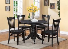 5 PIECE SHELTON DINING SET IN BLACK http://stores.ebay.com/Dining-Furniture