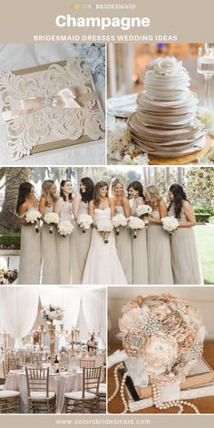 Champagne bridesmaid dresses long and short in 500 styles custom-made cheap under 100 good with champagne and white wedding invitation cake and table decorations. Bridesmaid Dresses Long Champagne, Champagne Dress, Wedding Bridesmaids, Neutral Wedding Colors, Beige Wedding, July Wedding Colors, Winter Wedding Colors, All White Wedding, White Weddings