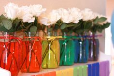 Cute floral arrangment idea for a Rainbow themed party via @The TomKat Studio #rainbow #flowers