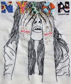 Singapore-based artist, Izziyana Suhaimi's, latest embroidered art series 'The looms in our bones?'