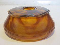 VINTAGE TIGER STRIPE BROWN VANITY HAIR RECEIVER JAR