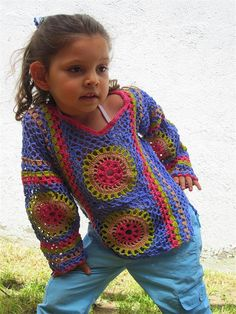Colorful crochet sweater for girls by ManolyPantoja on Etsy, $65.00