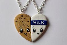 Galletas y leche amistad collares llaveros por CharmingClayCreation