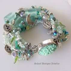 Aqua Sea Glass, Irridescent Dichroic Glass, Pearls, Ammazonite, Thai Silver, Charms and Spinners Bracelet with Large Oval Pressed Glass Box Clasp Closure