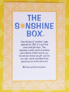 I owe my faith to my Savior. I owe my life's mission and inspiration to a friend and a box. The SONshine Box Ministry began as a way to encourage and uplift a life-long friend with the gift of God's word. I'd love to share my original post with you that reveals the inspiration of …