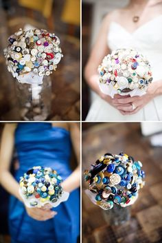 I'm trying to think of ways to cut wedding costs, making my own bouquet is one of the ideas. I like buttons <3