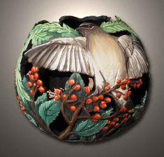 Phyllis Sickles -- carved gourd --cedar waxwing with berries