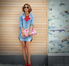 Denim dress outfit and Stella Mccartney Lucia clutch by GalantGirl.com