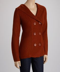 Another great find on #zulily! Suede Orange Double-Breasted Cardigan by Lapis #zulilyfinds