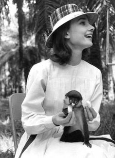 Audrey Hepburn and friend filming 'The Nun's Story', 1959.
