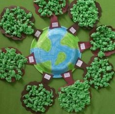 Great for recycling and Earth Day project! This would make a fabulous bulletin board too. Attach with glue dots or hot glue. You are in … Kids Crafts, Preschool Crafts, Diy And Crafts, Paper Crafts, Earth Day Projects, Earth Day Crafts, Projects To Try, Earth Day Activities, Science Activities