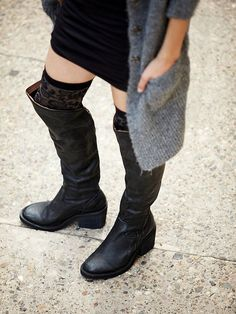 Jeffrey Campbell Gunnar Boot at Free People ...black leather flat OTK boots with OTK socks