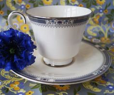 A classic Royal Doulton Melissa cup and saucer from the Romance Collection. Smart ivory bone china with blue decoration and silver detail. by Alexsprettyvintage on Etsy
