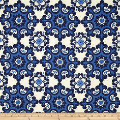 Screen printed on lightweight cotton duck; this versatile fabric is perfect for window accents (draperies, valances, curtains and swags), accent pillows, duvet covers and some upholstery projects. Create handbags, tote bags, aprons and more. Colors include ivory and navy.