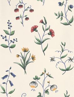 Karlslund (2910) - Boråstapeter Wallpapers - Pretty hand painted flowers in fresh colours of red, yellow and blue on a white ivory base. Please request sample for true colour match. Paste-the-wall product.