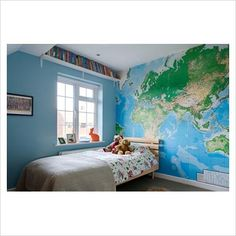 GAP Interiors - Childrens bedroom with world map wallpaper - Picture library specialising in Interiors Lifestyle & Homes Map Bedroom, Kids Bedroom, Childrens Bedroom, Bedroom Ideas, World Map Wallpaper, Cosy Room, Baby Room Design, Interior Photography, Wallpaper Pictures