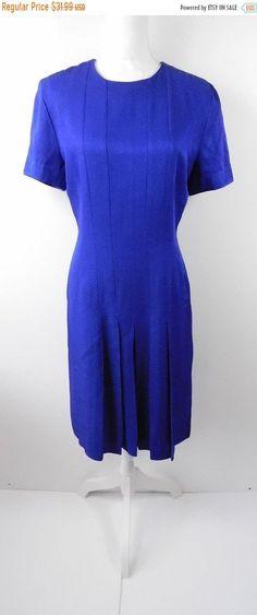 78c6b3c15f6 40% OFF VDAY SALE Vintage 1990s 90s Danny   Nicole Ny Royal Blue Pleated  Knee Length Minimal Short Sleeve Crewneck Dress Sz 6 Small