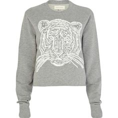 River Island Grey Tiger print cropped sweatshirt ($38) ❤ liked on Polyvore
