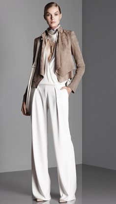 White jumpsuit with taupe cropped jacket and #neckerchief wrapped around the neck. Halston HeritageResort 2015 #scarf