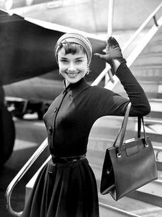 Audrey Hepburn arrives in London, 1953.