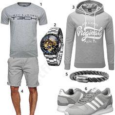 Graues Herren-Outfit mit Jack & Jones T-Shirt und Hoodie, Alienwork Automatikuhr, Fischers Fritze Armband, Indicode Shorts und Adidas Schuhen.