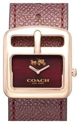 COACH 'Duffel Buckle' Square Leather Strap Watch, 30mm