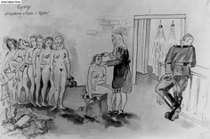 Zofia Rosenstrauch art: 20 paintings in 'The Osweicim(Auschwitz) death camp series. She survived the Birkenau women's camp and used these drawings as testimony for the Adolf Eichmann trial.