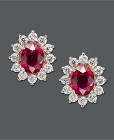 shopstyle.com: EFFY Collection Rosa by Effy 14k Gold Earrings, Ruby (3-3/4 ct. t.w.) and Diamond (1-5/8 ct. t.w.) Oval Stud Earrings