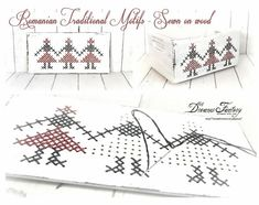 Romanian Traditional Motifs - Sewn on wood ♦ Motive traditionale romanesti cusute pe lemn - Dreams Factory