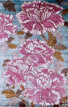 french peonies silk rug