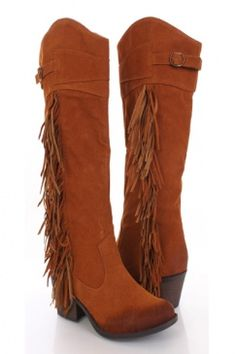 Rust Tall Faux Suede Fringed Tall Heel Boots