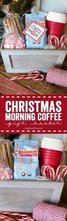 Give the gift of coffee with this adorable Christmas Morning Coffee Gift Basket! Give the gift of coffee with this adorable Christmas Morning Coffee Gift Basket! Diy Christmas Baskets, Christmas Food Gifts, Christmas Coffee, Christmas Morning, Christmas Time, Holiday Gifts, Christmas Crafts, Holiday Ideas, Christmas Ideas