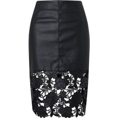 Darling London Suki Faux Leather Fitted Skirt, Black (17.760 CLP) ❤ liked on Polyvore featuring skirts, bottoms, saias, faldas, zipper skirt, pencil skirts, zipper pencil skirt, faux leather pencil skirt and leather look skirt