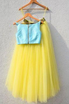 Yellow Lehenga With Blue Crop Top-Anisha Shetty-Fabilicious Fashion Indian Fashion Dresses, Dress Indian Style, Indian Designer Outfits, Indian Outfits, Ethnic Outfits, Indian Attire, Designer Dresses, Lengha Blouse Designs, Kids Lehenga Choli