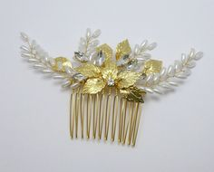 Wedding Hair Comb Bridal Headpiece Gold or by MagicBluebellDesigns