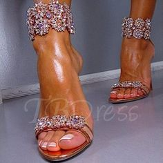 Fancy Rhinestone Stiletto Heel Sandals Women's Wedding Shoes - m.tbdress.com