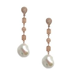 Kelly Earrings - Diamonds, Keshi Pearls, Rose Gold - By Meredith Marks Designs (Also available in Sterling Silver and Yellow Gold)  http://www.meredithmarks.com/LSECommerce/kelly-earrings/dp/1104
