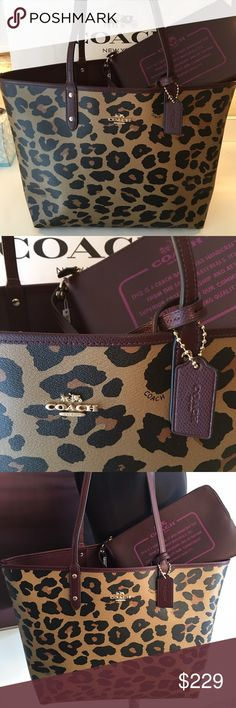 COACH FINAL PRICE! NEW LARGE TOTE BAG 100% AUTH COACH NEW WITH TAGS LARGE REVERSIBLE CHEETAH TOTE WITH POUCHETTE. THIS IS THE IT BAG. FUN AND VERY FASHIONABLE AND PERFECT FOR ANY OCCASION. CHEETAH ON ONE SIDE THEN TURN IT INSIDE OUT FOR A BURGANDY TOTE. THE BAG MEASURES 18 INCHES WIDE BY NEARLY 12 INCHES TALL AND 6 INCHES DEEP WITH A 10 INCH DROP ON THE SHOULDER STRAPS. THE POUCHETTE THAT COMES WITH IS IS A  LARGE 9 INCHES BY 6 INCHES Coach Bags Totes
