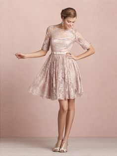 A-line/Prinsesse Scoop Kort/Mini Blonde Brudepige Kjole