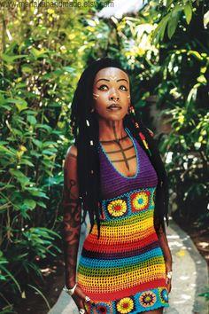 Rainbow crochet halter dress - OOAK Beach Festival Dress by manakahandmade on Etsy
