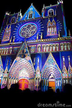 """Lyon Cathedral - festival of lights --  these """"festival of lights"""", everywhere now, are beautiful ..... but .... on one side government say that we have to be careful with energy, and, on the other side these festivals (big """"eaters"""" of energy ...) are more & more popular ........."""