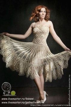A few charts, but great skill would be needed to create this crochet dress from them.