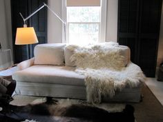 Natural cream color shaggy wool felt throw or rug