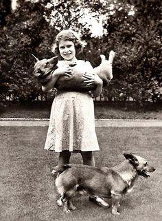Princess Elizabeth with pet Corgis, her favourite dog breed.