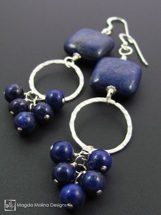 "The ""Bunches of Grapes"" Lapiz Lazuli And Hammered Silver Earrings"